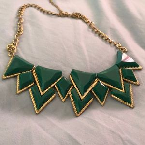 Emerald Green And Gold Statement necklace